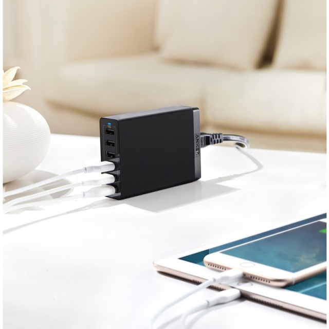 Compact 6-USB Phone Charging Station