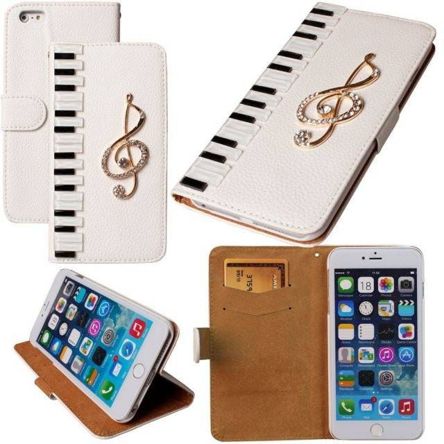 Piano Styled Leather Phone Flip Case