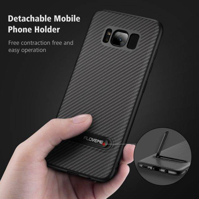 Luxury Carbon Fiber Phone Cover With Kickstand For Samsung Galaxy