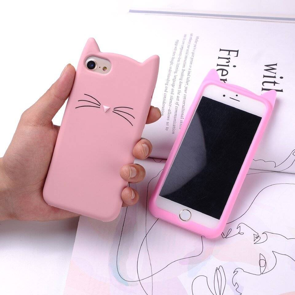 Cartoon Cat Shaped Soft Phone Case for iPhone