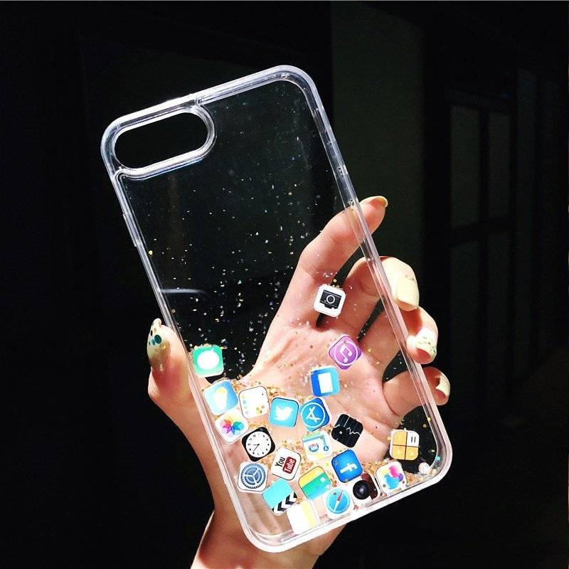 Phone Icons Printed Soft Case for iPhone