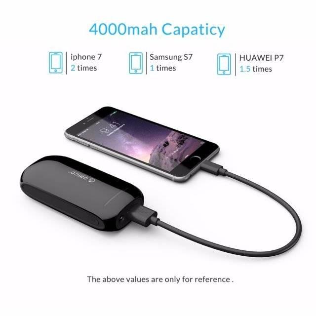 4000 mAh Black USB Power Bank