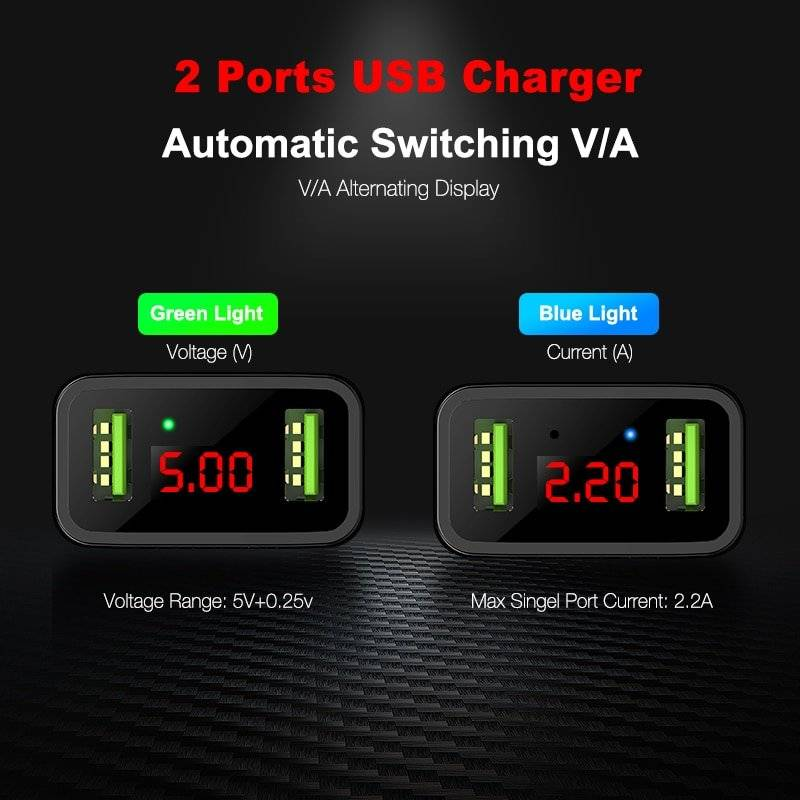3 USB Ports Charger with Digital Display