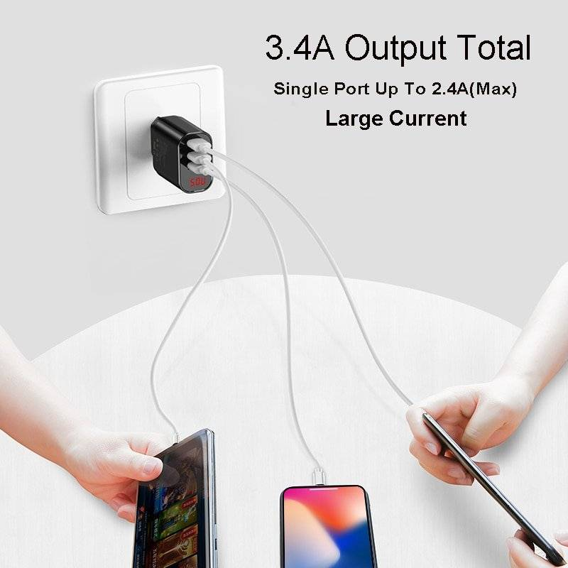 Multi Wall USB Charger for Mobile Phone with Display