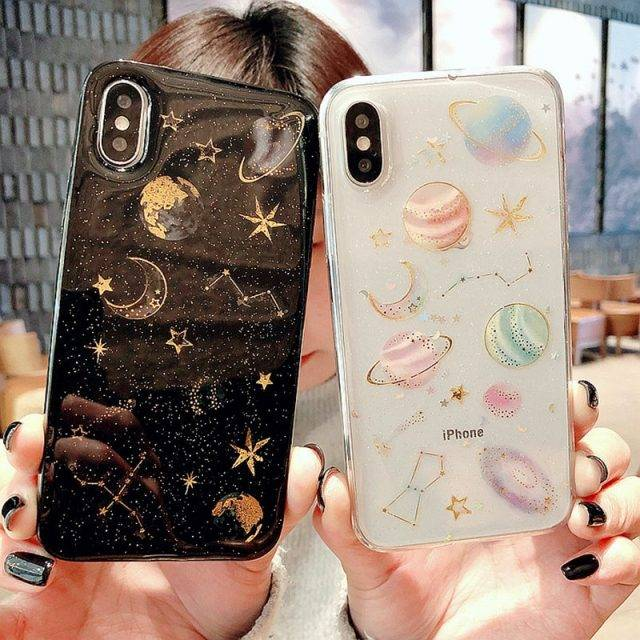 Glittery Space Printed Silicone Case for iPhone