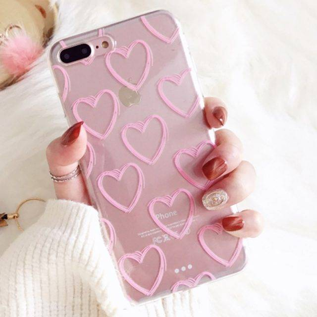 Pink Love Heart Printed Case for iPhone