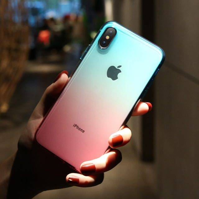 Soft Silicone Cases for iPhones with Double Color Gradient Design
