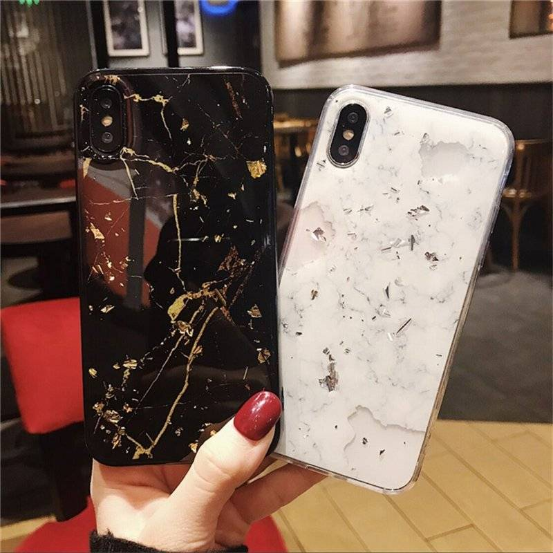 Glittering Stone Textured Soft Case for iPhone