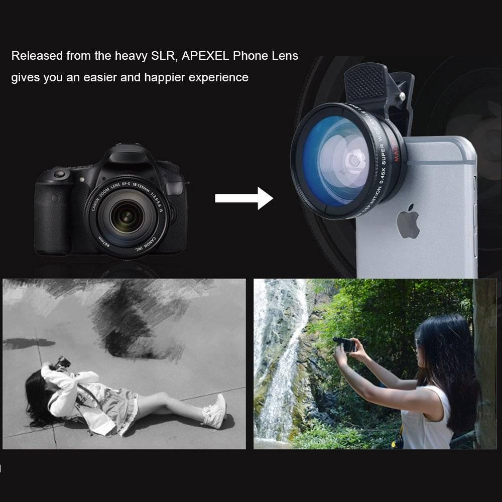 Professional 0.45X Wide Angle 12.5X Macro HD Camera Phone Lenses