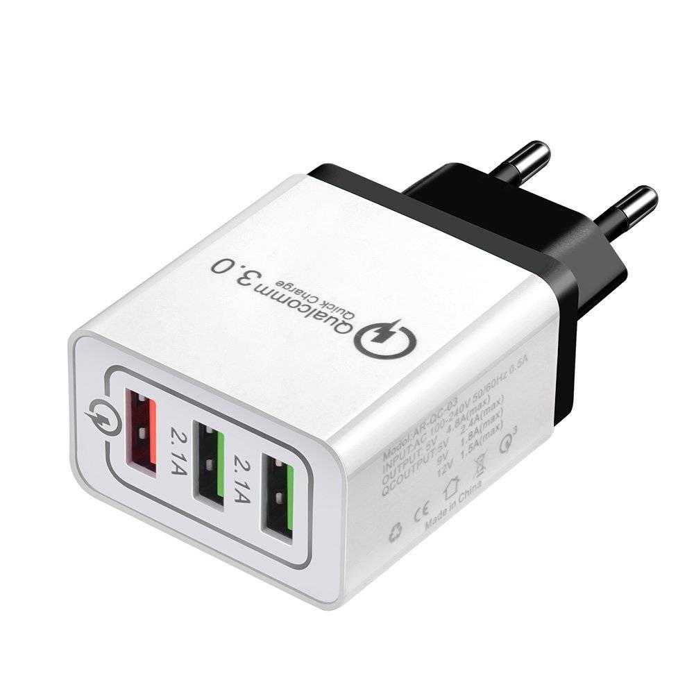3-Port Portable Charger for Smart Devices Plug Type: Black, EU