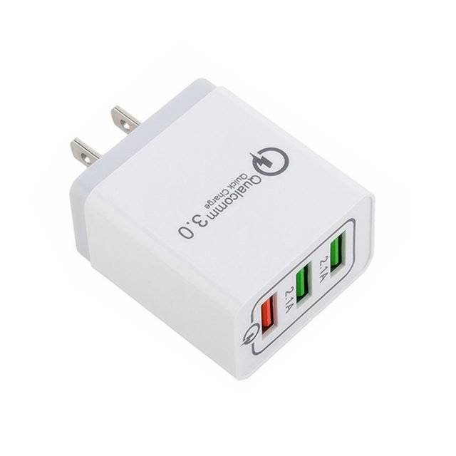 3-Port Portable Charger for Smart Devices Plug Type: Grey, US
