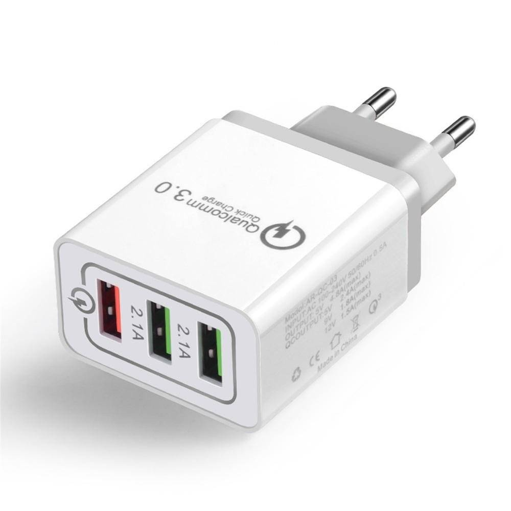 3-Port Portable Charger for Smart Devices Plug Type: Grey, EU