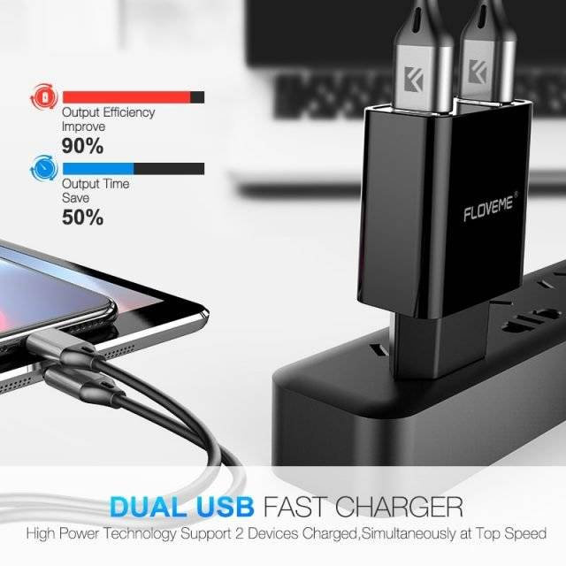 Dual USB Ports Phone Charger with Digital Display