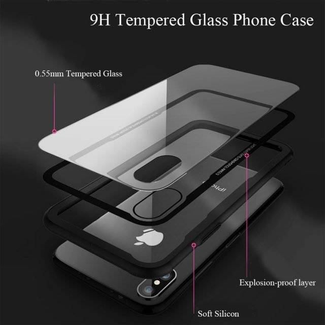 Transparent Tempered Glass Phone Case for iPhone