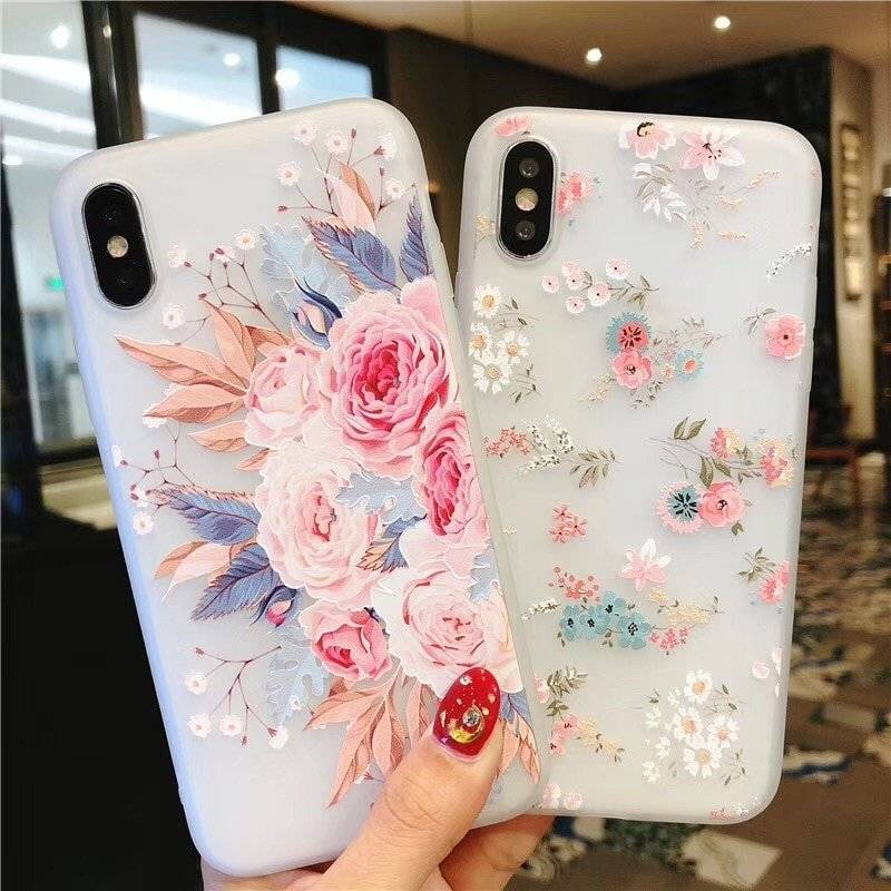 Flower Printed Soft Phone Case for iPhone