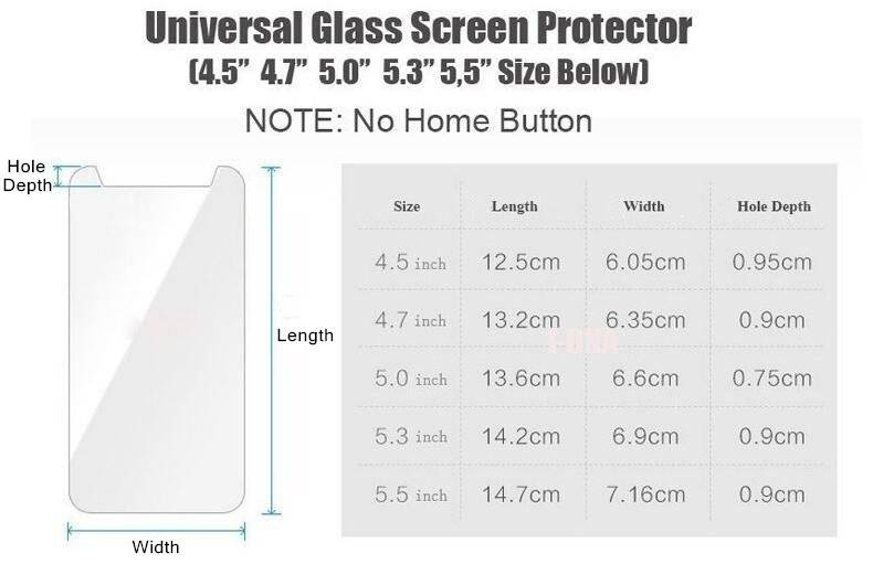 Ultra Thin Tempered Glass Protector for 4.5 4.7 5.0 5.3 5.5 inch Mobile Phones