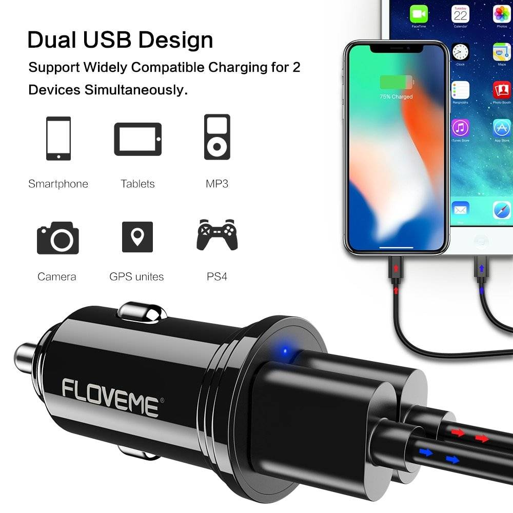 Compact Design Dual USB Car Charger