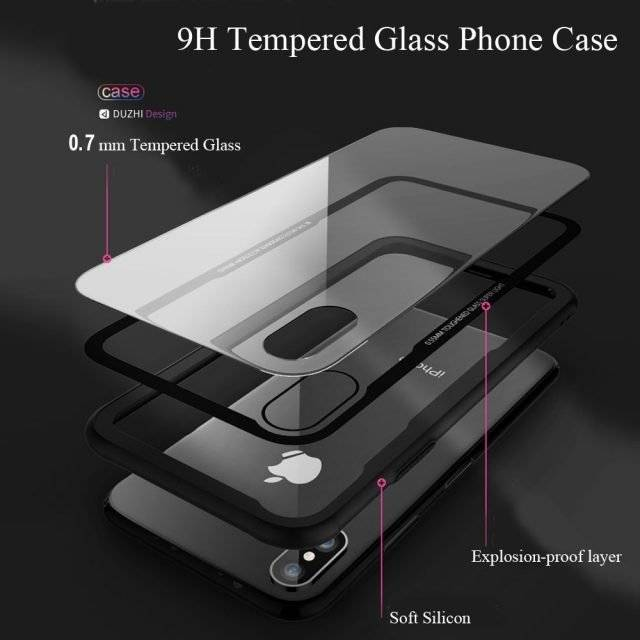 Transparent Design Tempered Glass Phone Case for iPhone