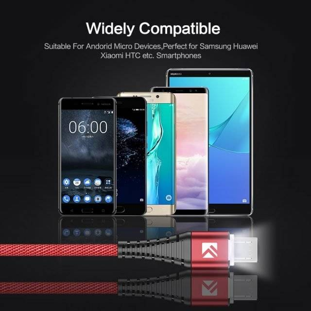 LED Indicator Micro USB Charging Cable