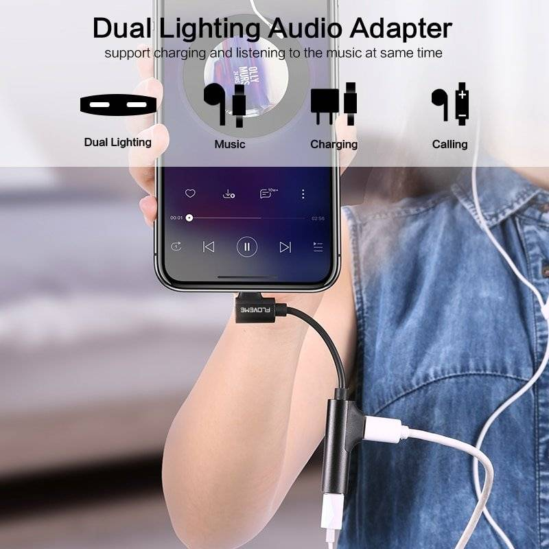 2 in 1 Lightning Interface Audio Adapter