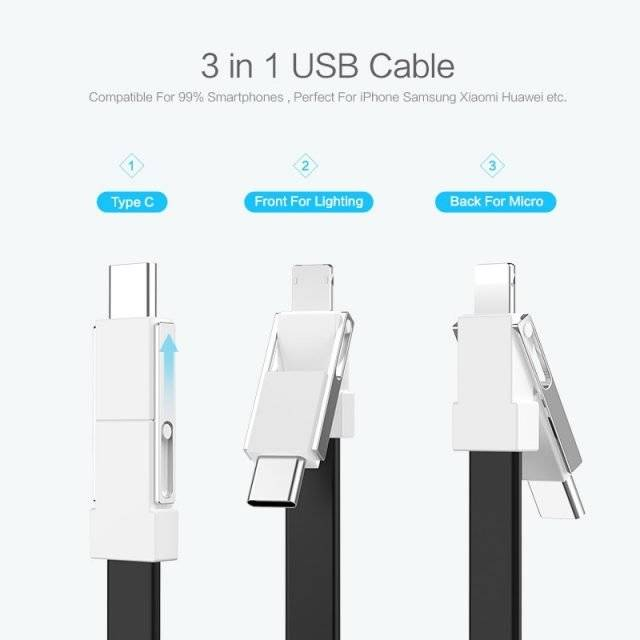3 in 1 Compact Keychain Design USB Cable
