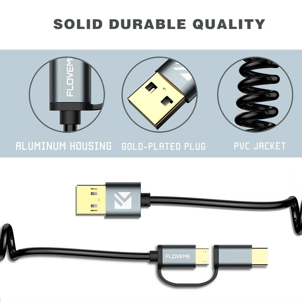 Quick Charge 3.0 Micro USB and Type-C Charging Cable