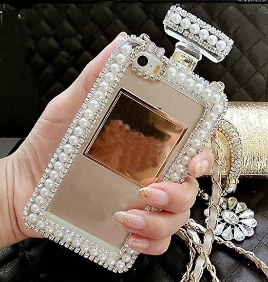 Luxury Jeweled Perfume Bottle Silicone Women's Phone Case