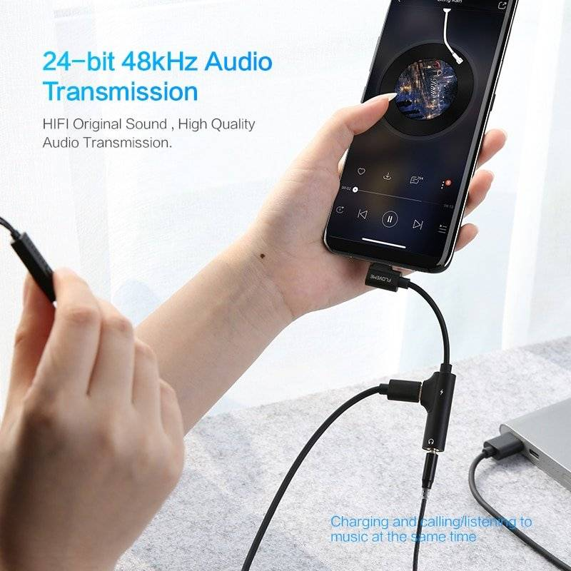 2 in 1 USB Type C to 3.5 mm Mini Jack Adapter