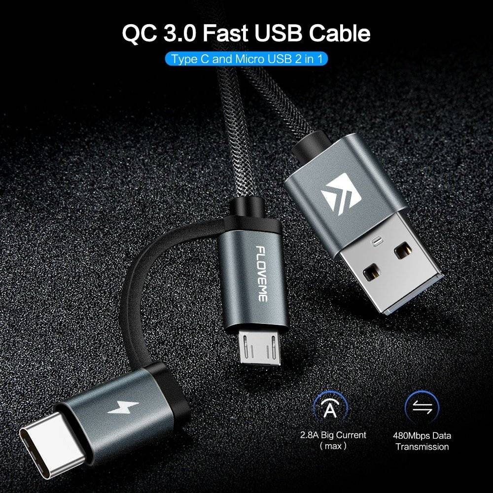 2 in 1 Quick Charge 3.0 USB Cable