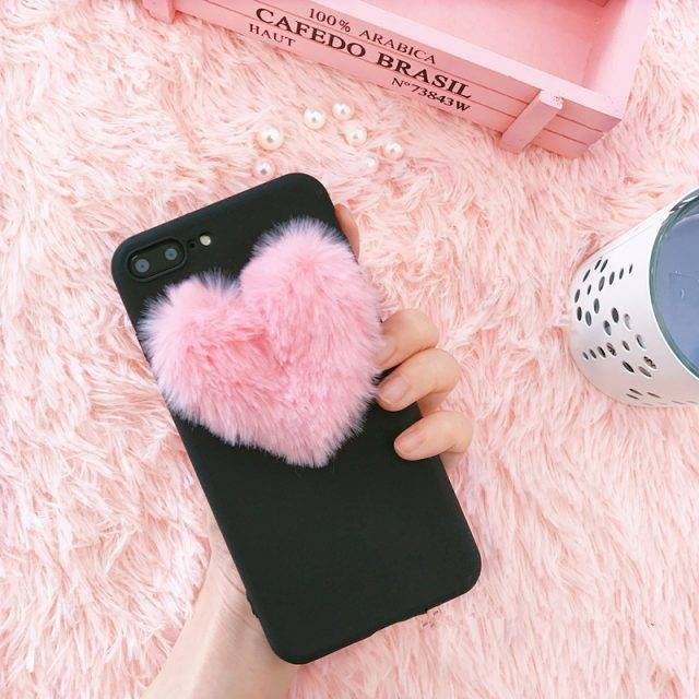 3D Cute Heart Fur Pom Pom Fitted Phone Case