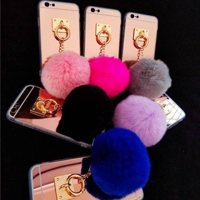 Luxury Fluffy Pom Pom Pendant Mirror Phone Case for iPhone