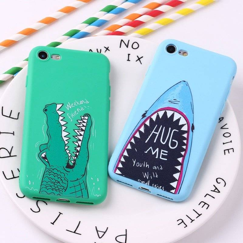 Funny Crocodile and Shark Printed Case for iPhone