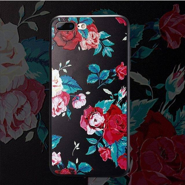 3D Floral Design Soft iPhone Case