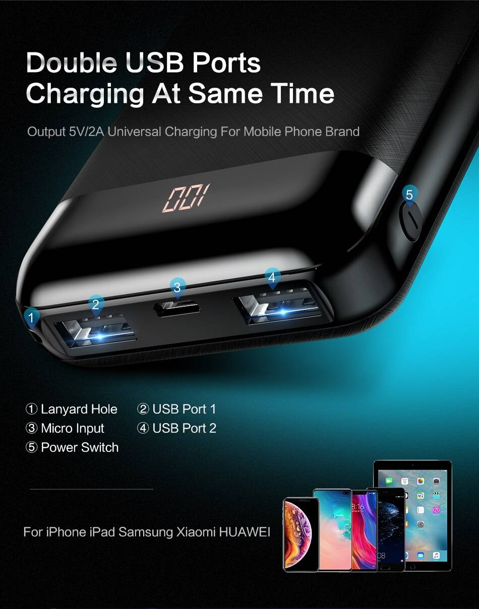 10000 mAh Compact Design Power Bank