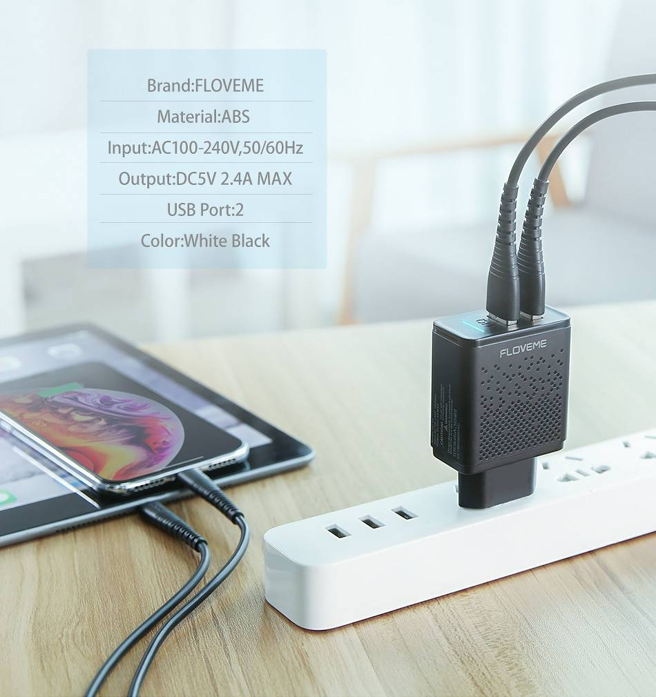 Dual USB Fast Charger with LED Indicator