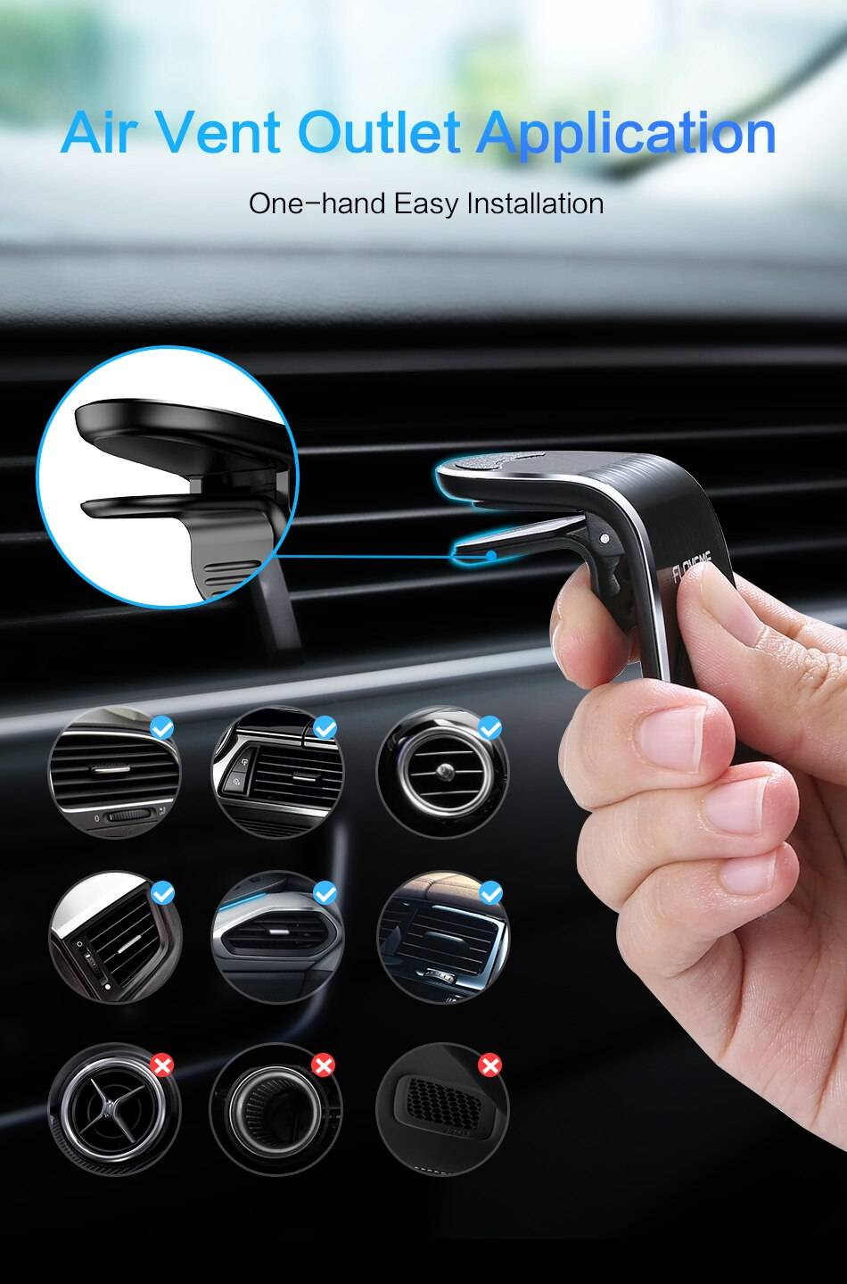 Magnetic L-Shape Car Phone Holder